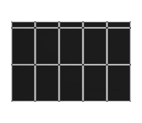 vidaXL Sulankstoma parodų sienelė, 10 dalių, juodos spalvos
