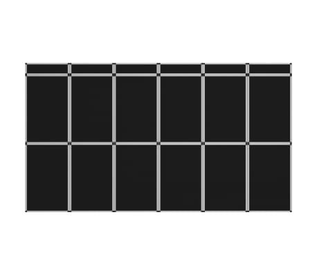 vidaXL Sulankstoma parodų sienelė, 12 dalių, juodos spalvos