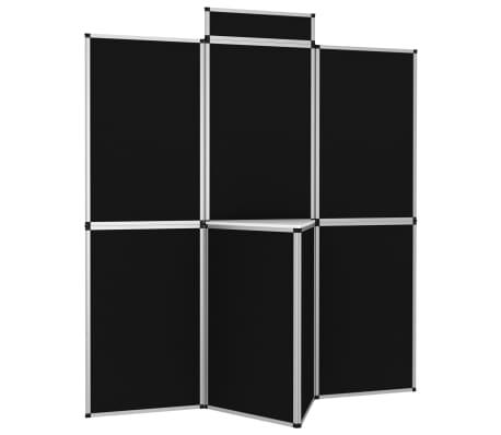 vidaXL Parodų sienelė su staliuku, 8 dalių, juoda, 181x200cm