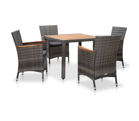 vidaXL 5 Piece Garden Dining Set with Cushions Poly Rattan Grey-picture