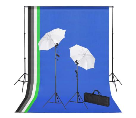 vidaXL Fotostudio med bakgrunder, lampor och paraplyer