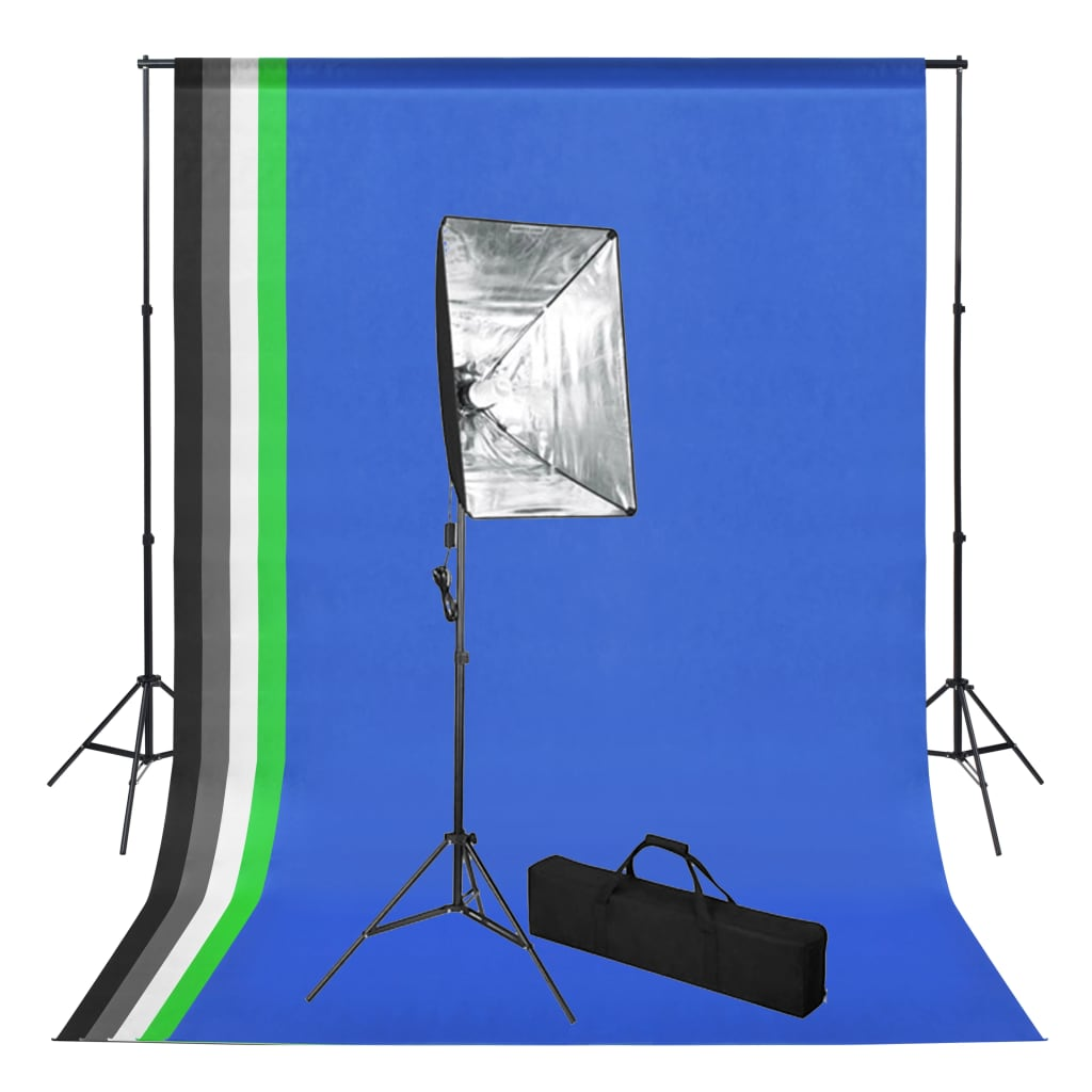 Foto studio set s fotopozadím a softboxem