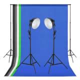 vidaXL Kit de studio photo avec lampes et toiles de fond