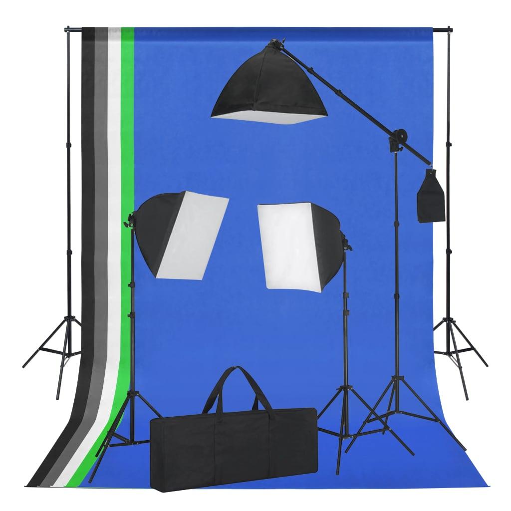 vidaXL Kit studio foto cu lumini softbox și fundaluri poza 2021 vidaXL