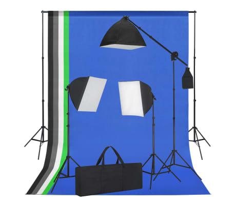 vidaXL Set estudio fotográfico focos tipo softbox y telones de fondo