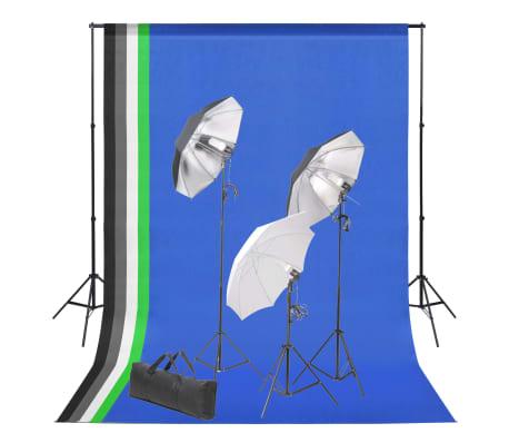 vidaXL Set de estudio fotográfico con telón de fondo e iluminación