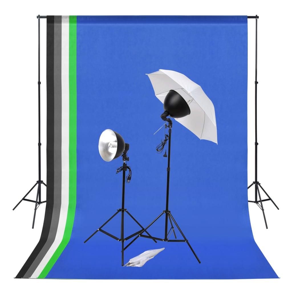 vidaXL Kit studio foto cu set de lumini și fundaluri imagine vidaxl.ro