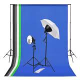 vidaXL Kit de studio photo avec éclairage et toiles de fond