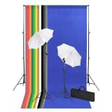 vidaXL Set de fotografía de estudio con telones, lámparas y paraguas fotográfico