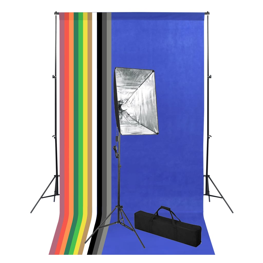 vidaXL Kit studio foto cu fundal și lumină cu softbox imagine vidaxl.ro