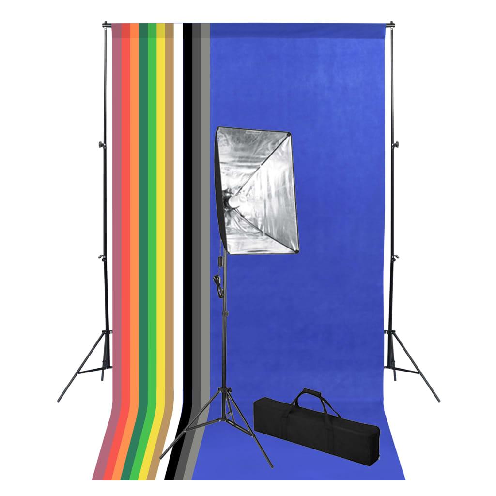 vidaXL Foto studio set s fotopozadím a softboxem
