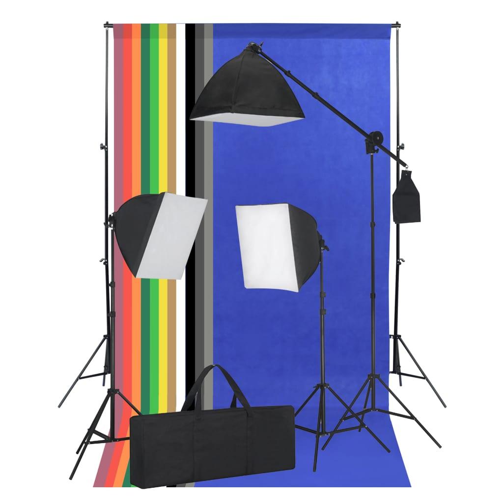 vidaXL Kit studio foto cu lumini softbox și fundaluri vidaxl.ro