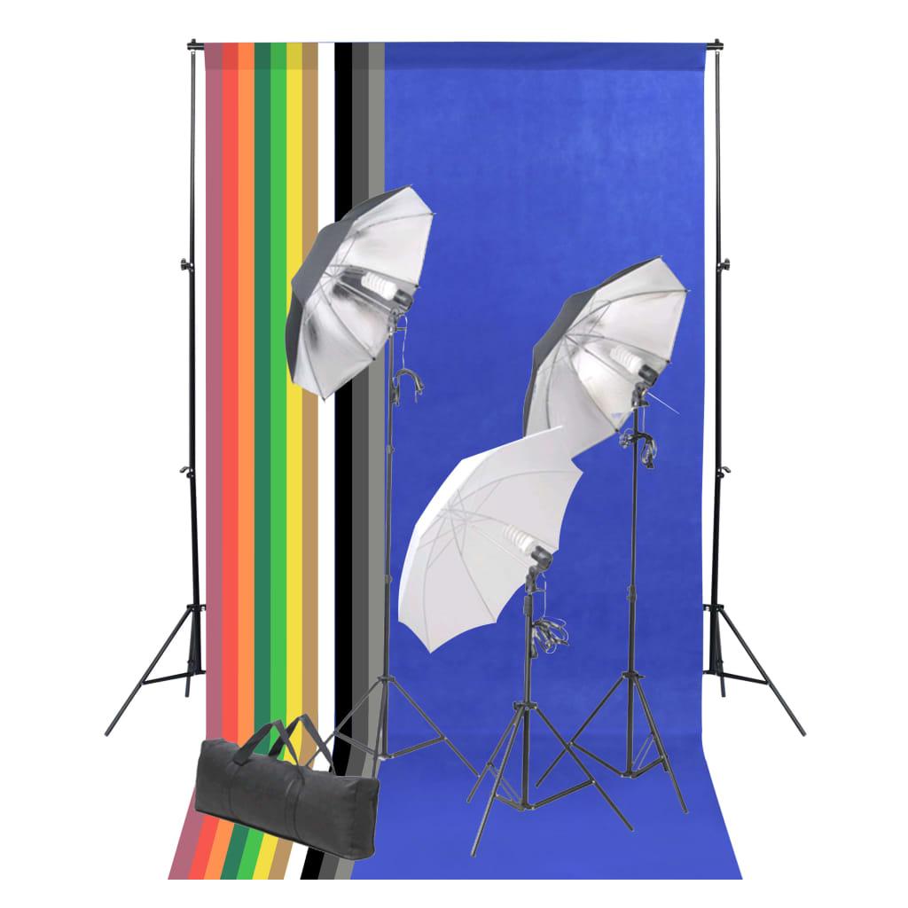 vidaXL Foto studio set s fotopozadím a sadou světel
