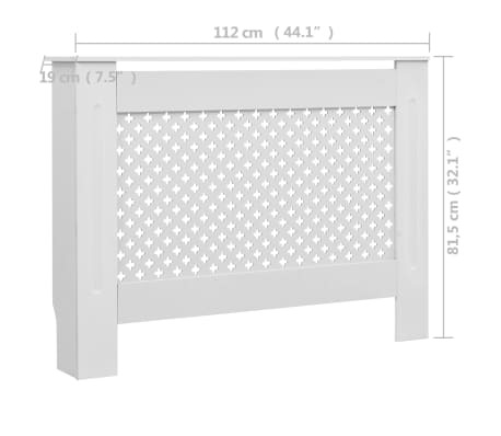 vidaXL Cache-radiateurs 2 pcs Blanc 112x19x81,5 cm MDF[8/8]