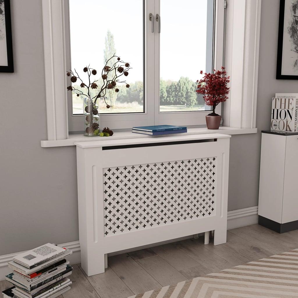 vidaXL Coberturas de radiador 2 pcs 112x19x81,5 cm MDF branco