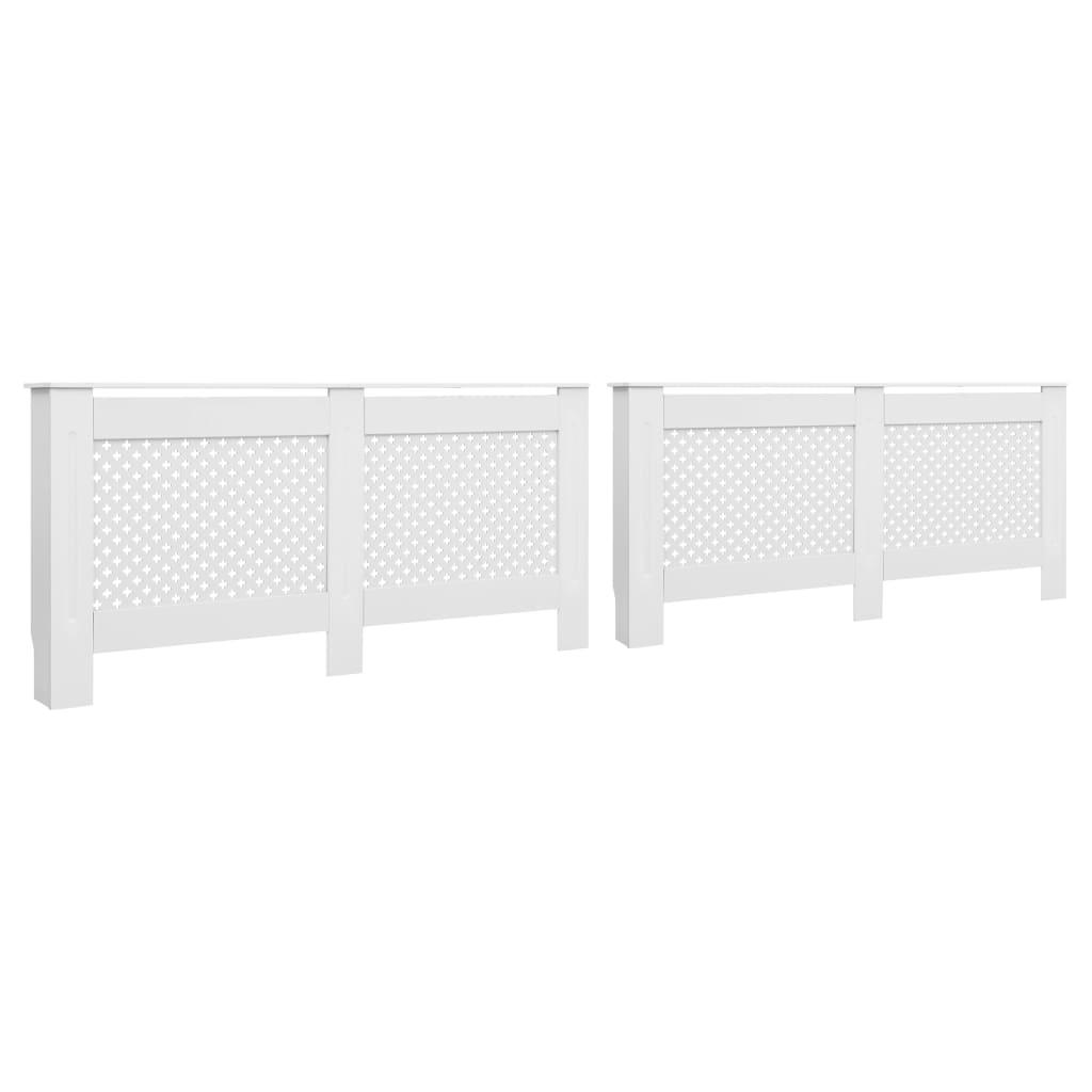 Kryty na radiátor 2 ks bílé 152 x 19 x 81,5 cm MDF