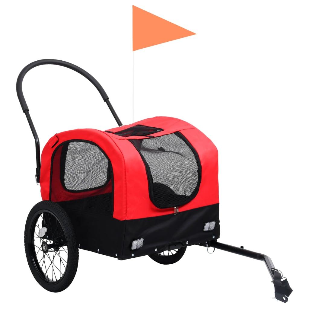 vidaXL Huisdierenfietskar 2-in-1 aanhanger loopwagen rood en zwart