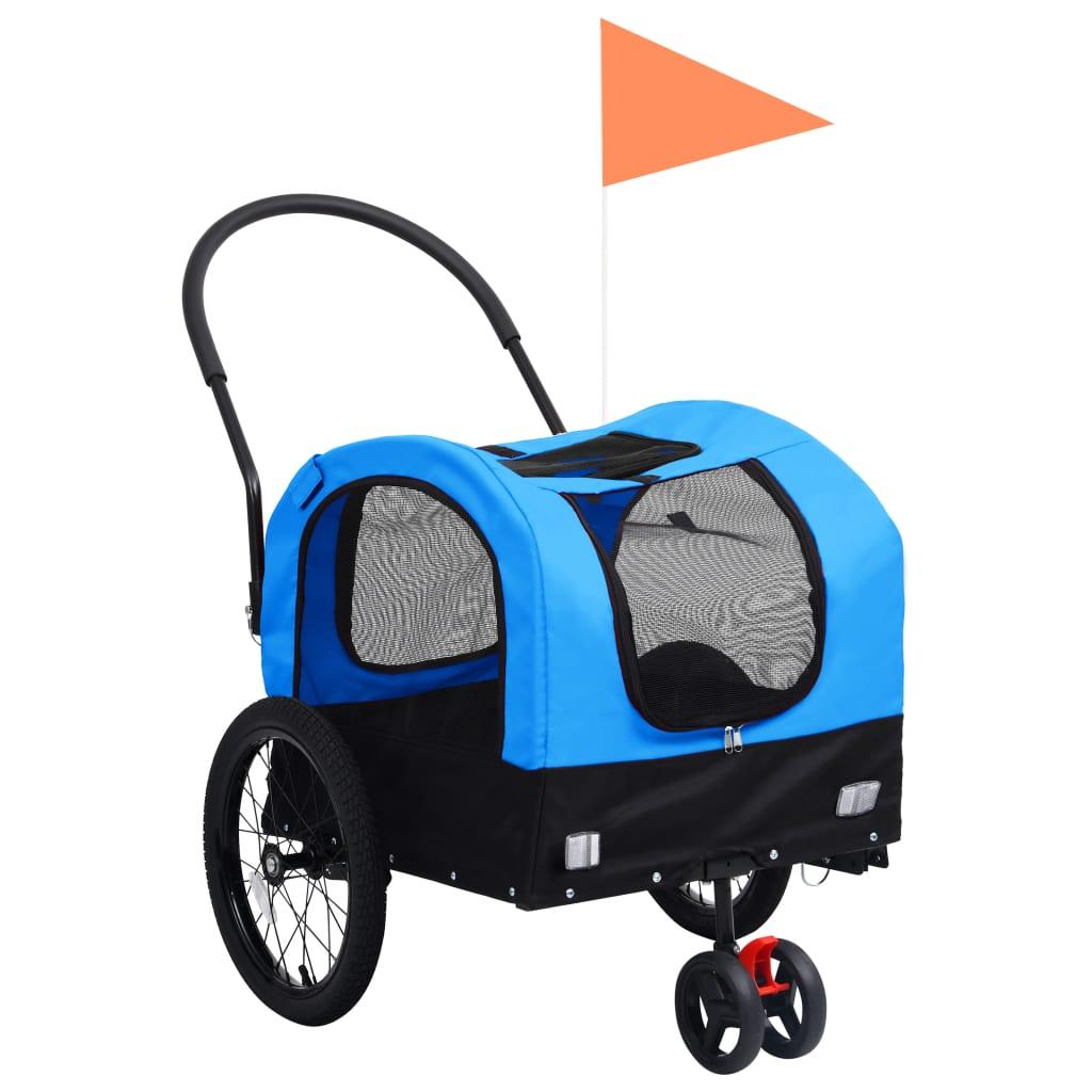 vidaXL Remorcă bicicletă & cărucior 2-în-1 animale, albastru și negru vidaxl.ro