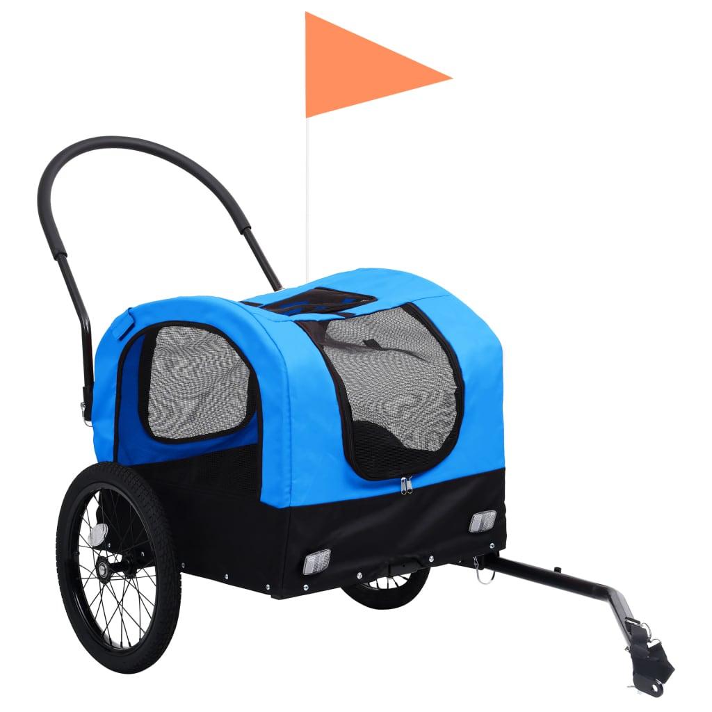 vidaXL Huisdierenfietskar 2-in-1 aanhanger loopwagen blauw en zwart