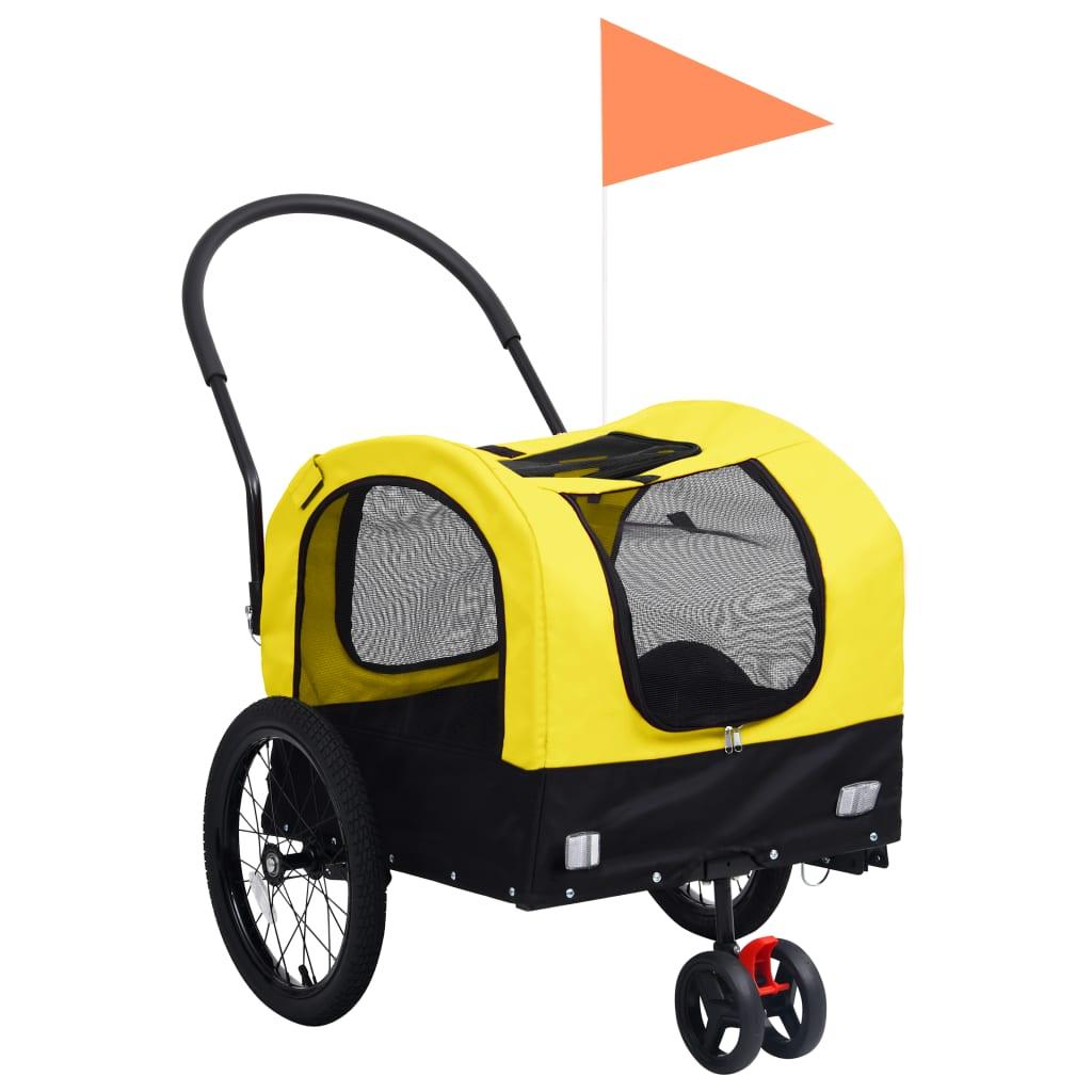 vidaXL Remorcă bicicletă & cărucior 2-în-1 animale, galben și negru vidaxl.ro