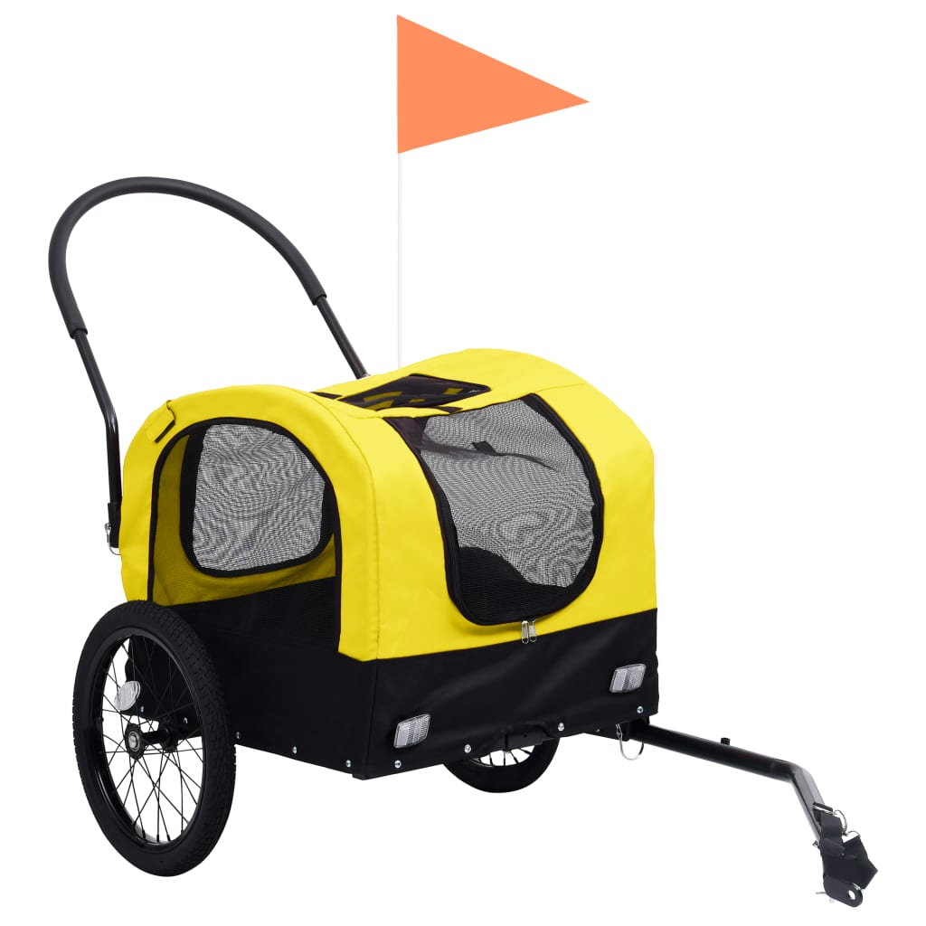 vidaXL Huisdierenfietskar 2-in-1 aanhanger loopwagen geel en zwart