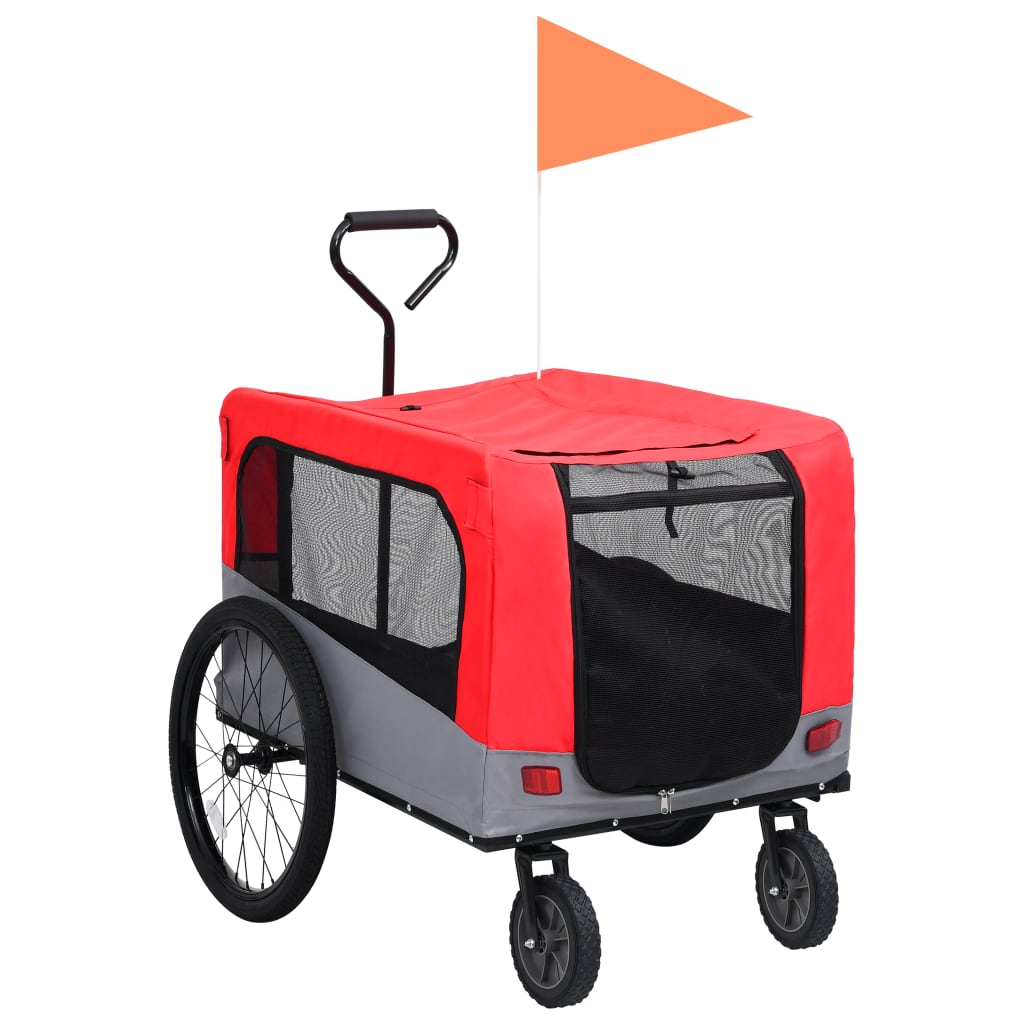 Vozík pro psa za kolo a na běhání 2 v 1 červeno-šedý