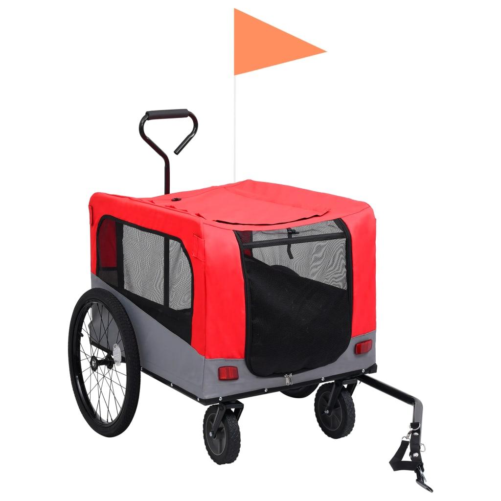vidaXL Huisdierenfietskar 2-in-1 aanhanger loopwagen rood en grijs