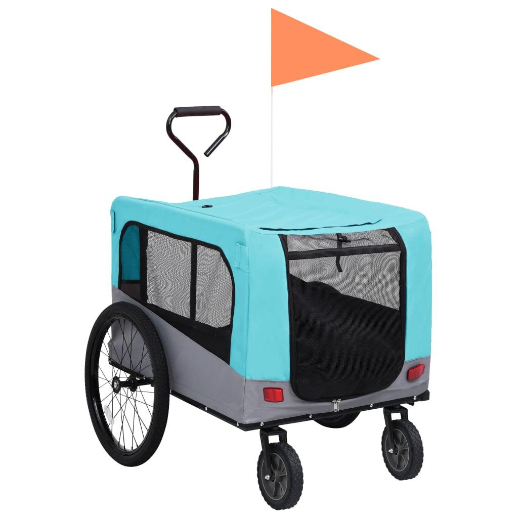 Vozík pro psa za kolo a na běhání 2 v 1 modro-šedý