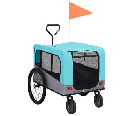 vidaXL Huisdierenfietskar 2-in-1 aanhanger loopwagen blauw en grijs