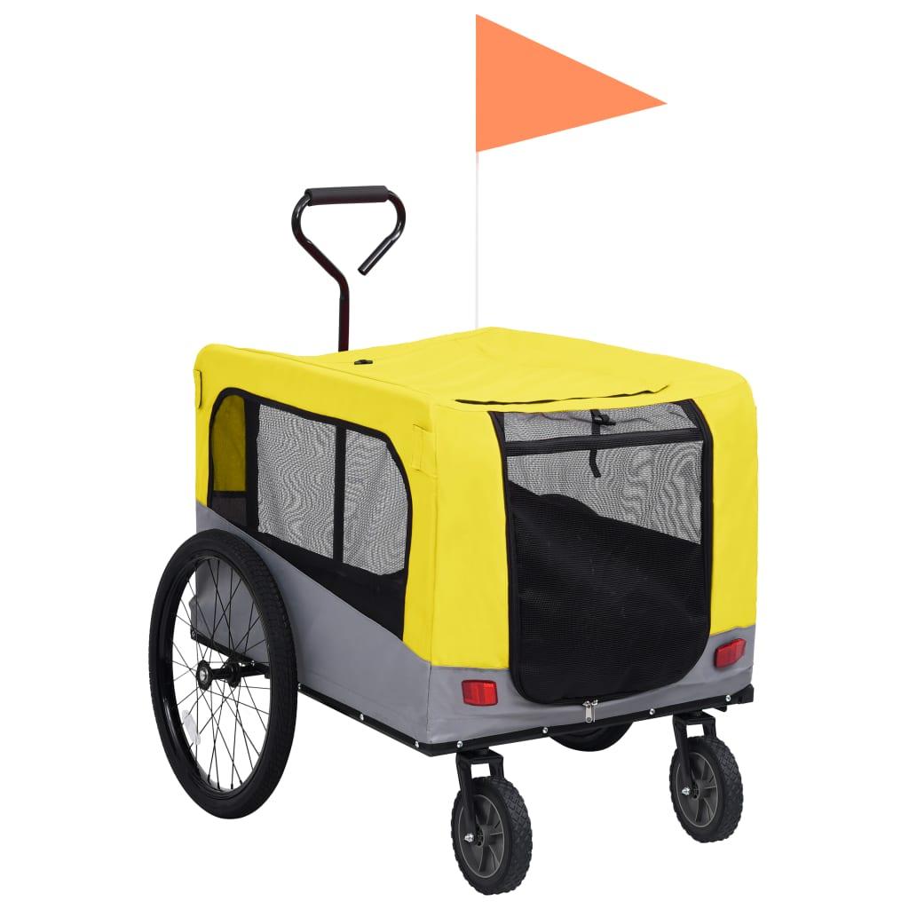 Vozík pro psa za kolo a na běhání 2 v 1 žluto-šedý