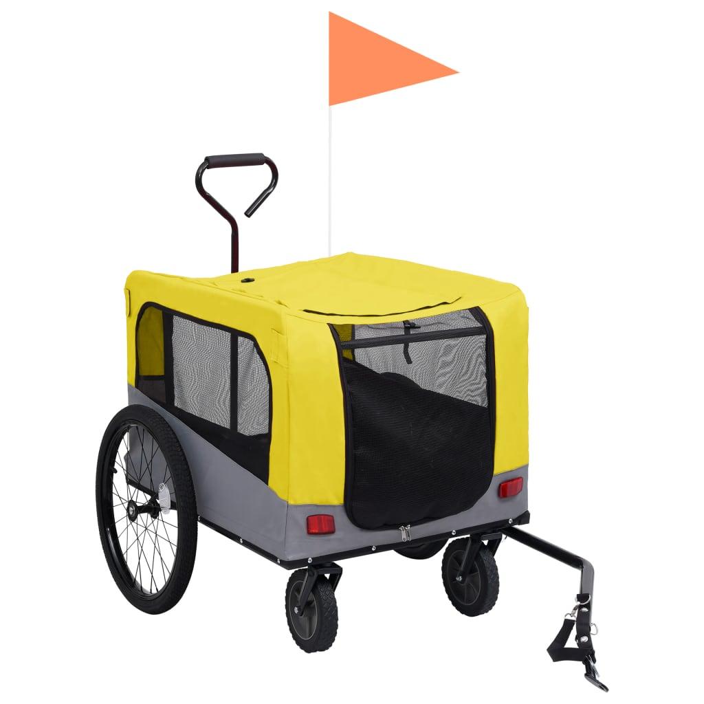 vidaXL Huisdierenfietskar 2-in-1 aanhanger loopwagen geel en grijs