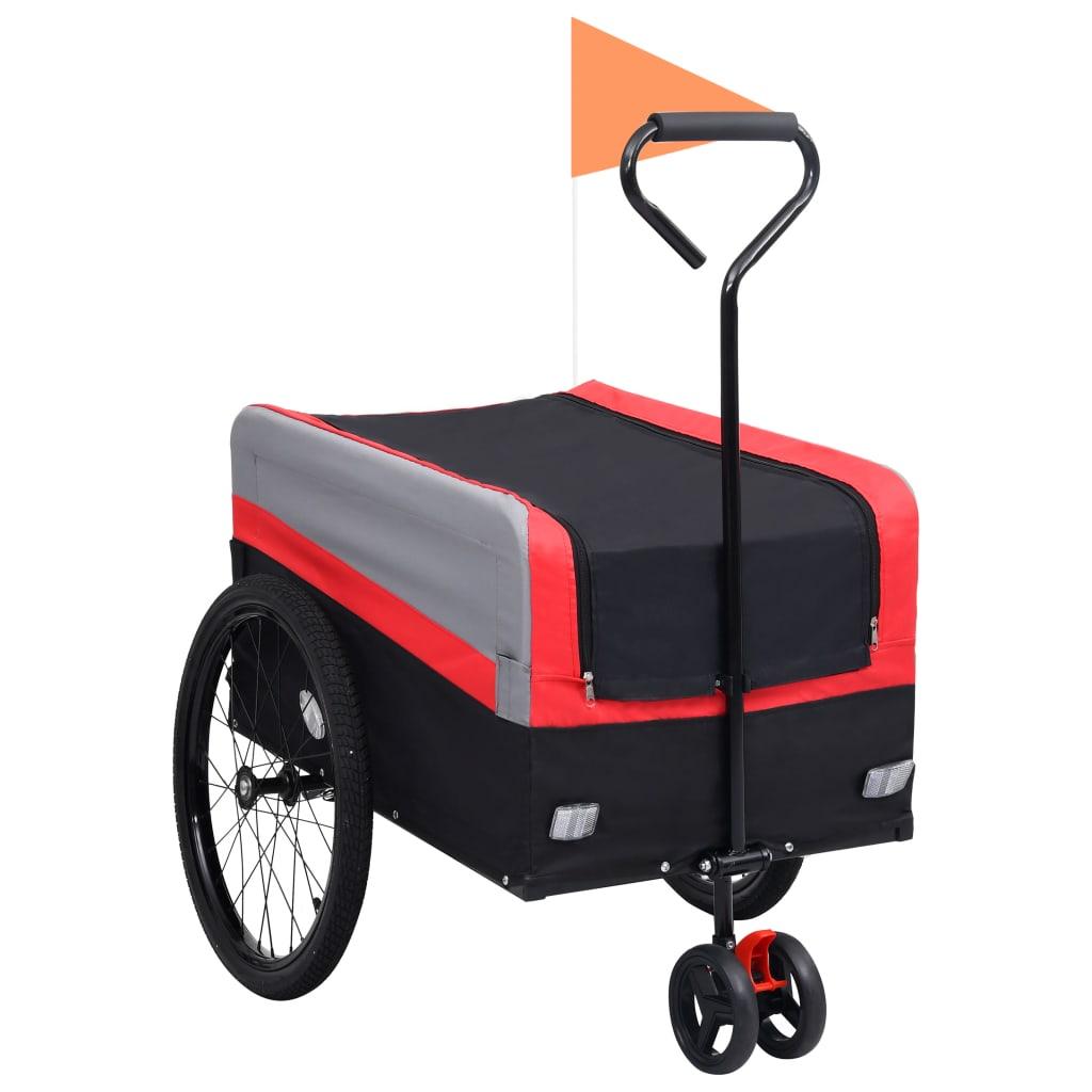 Přívěs za kolo a ruční vozík 2v1 XXL červeno-šedo-černý