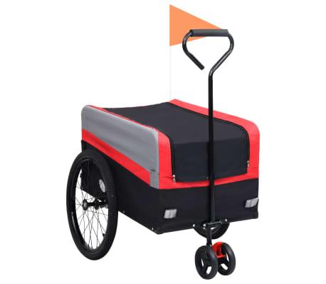 vidaXL Fietskar 2-in-1 aanhanger loopwagen XXL rood grijs en zwart