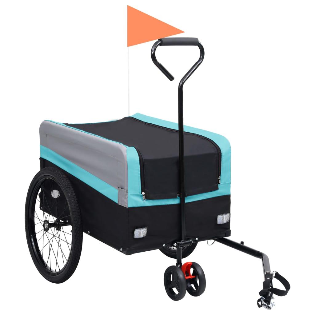 Přívěs za kolo a ruční vozík 2 v 1 XXL modro-šedo-černý
