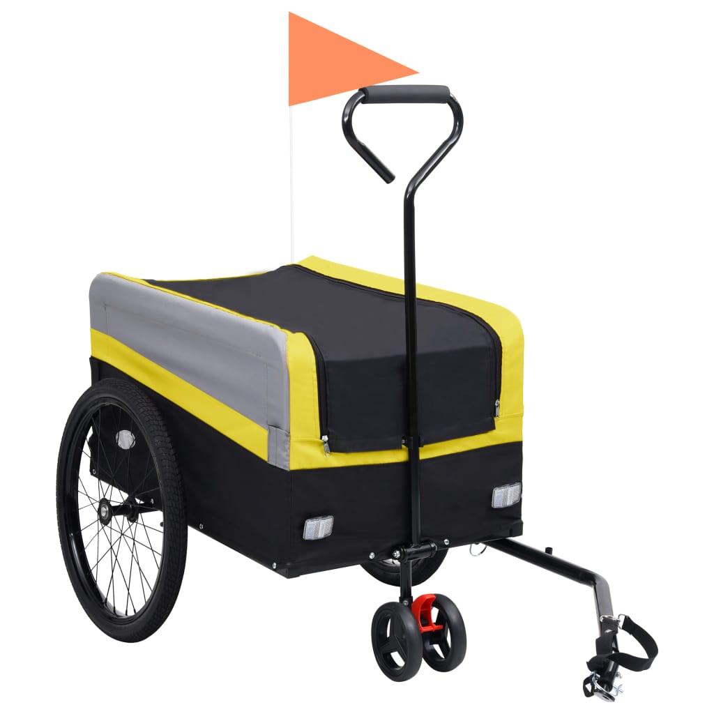 Přívěs za kolo a ruční vozík 2 v 1 XXL žluto-šedo-černý