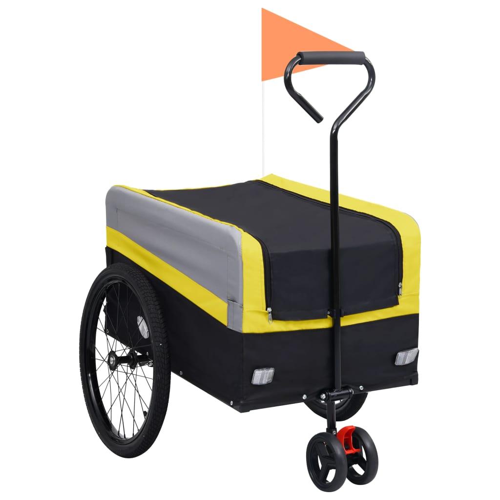 vidaXL Fietskar 2-in-1 aanhanger loopwagen XXL geel grijs en zwart