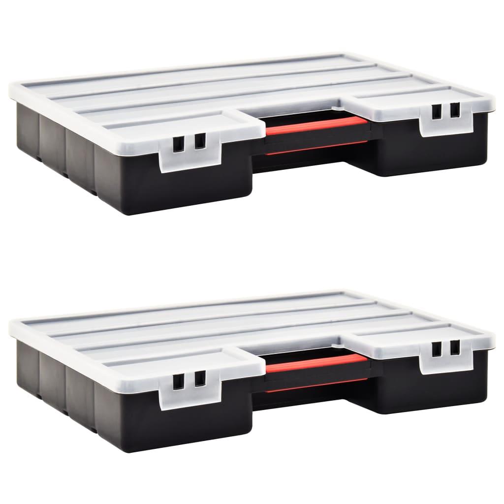 Boxy na součástky 2 ks nastavitelné přihrádky 460 x 325 x 80 mm