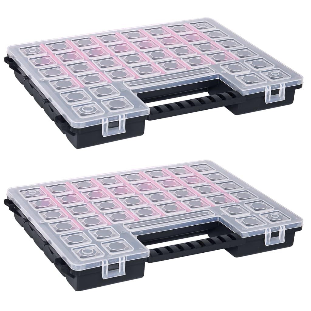 vidaXL Cutii sortare 2 buc separatoare reglabile 385x283x50 mm plastic poza vidaxl.ro