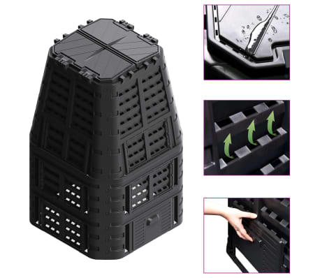 vidaXL Compostbak 1000 L 93,3x93,3x146 cm zwart
