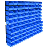 vidaXL 96 Piece Storage Bin Kit with Wall Panels Blue