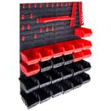 vidaXL 29-tlg. Behälter-Set für Kleinteile mit Wandplatten Rot Schwarz