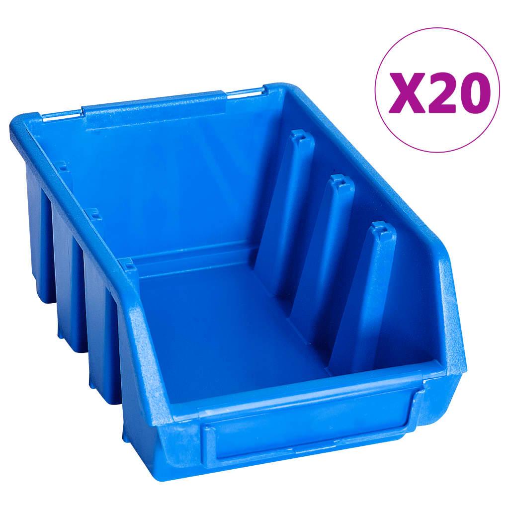 vidaXL Cutii de depozitare stivuibile, 20 buc., albastru, plastic poza 2021 vidaXL