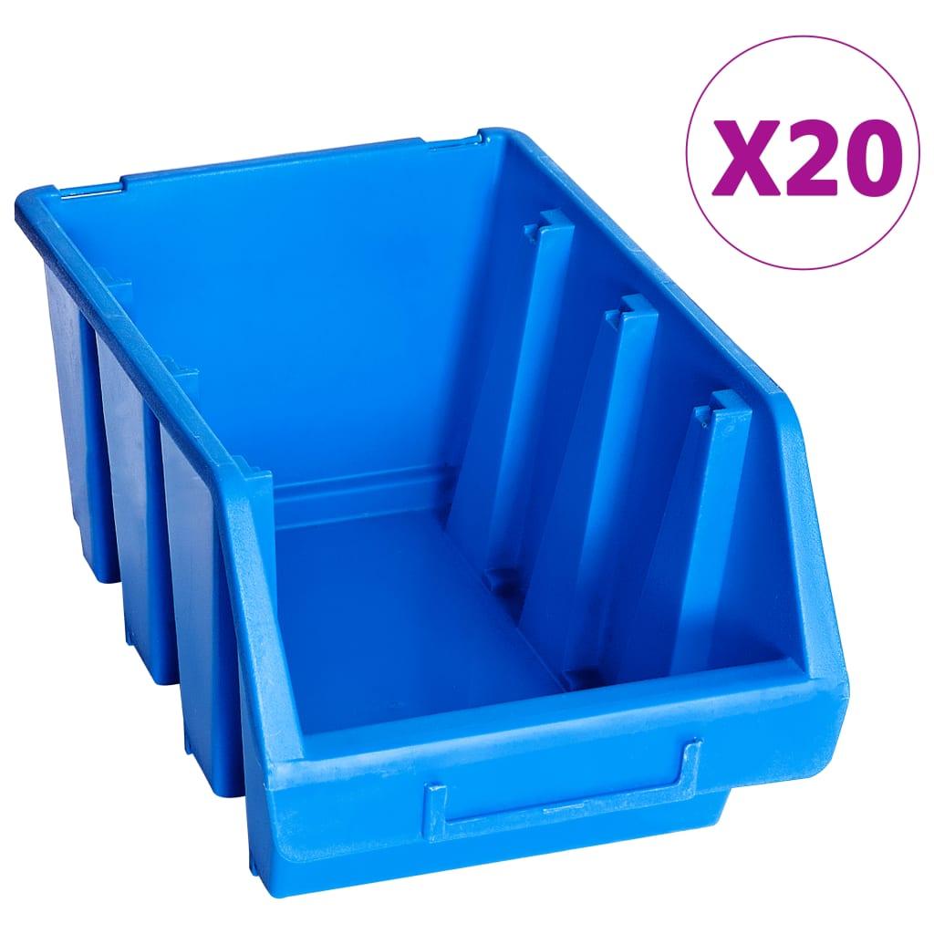 vidaXL Cutii de depozitare stivuibile, 20 buc., albastru, plastic poza vidaxl.ro