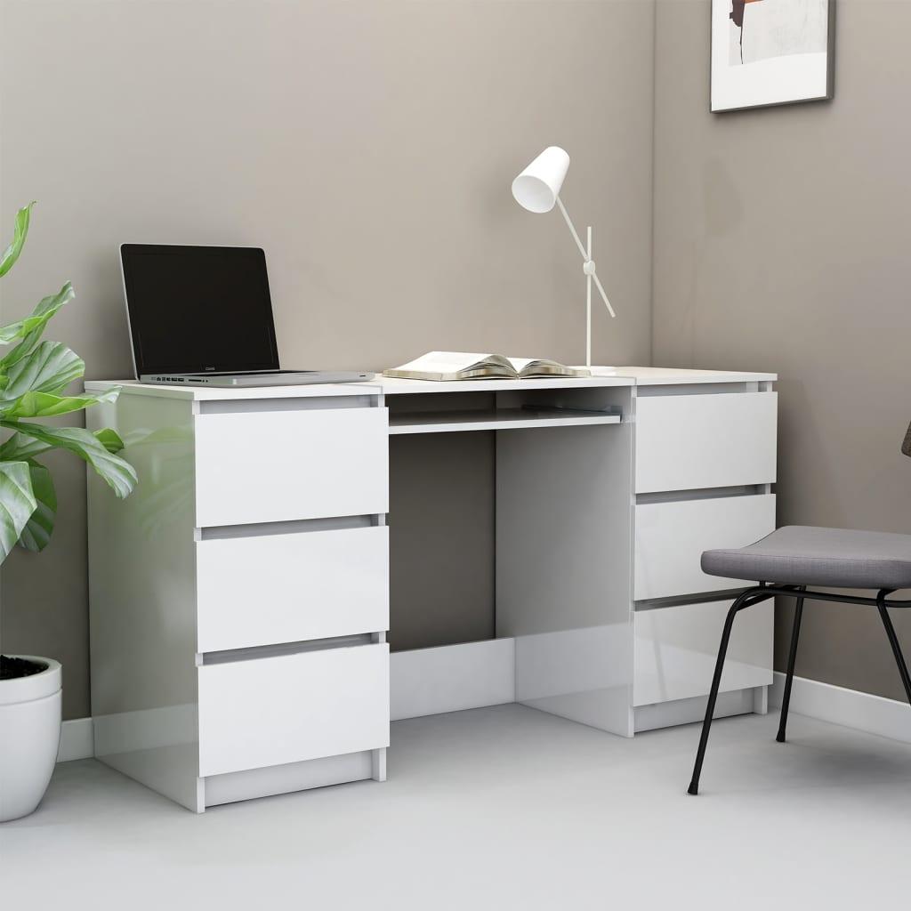 Schreibtisch Hochglanz-Weiß 140×50×77 cm Spanplatte
