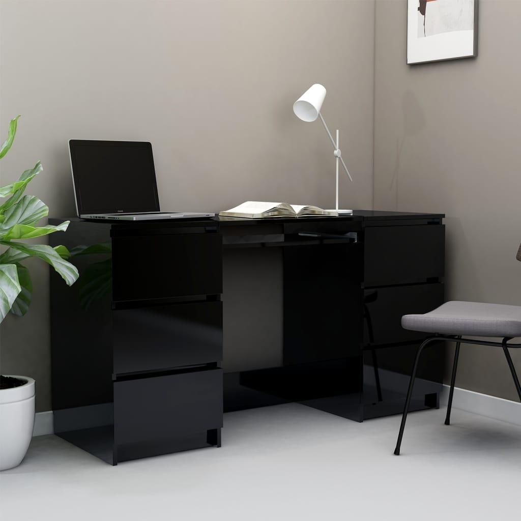 vidaXL Birou de scris, negru extralucios, 140 x 50 x 77 cm, PAL poza 2021 vidaXL