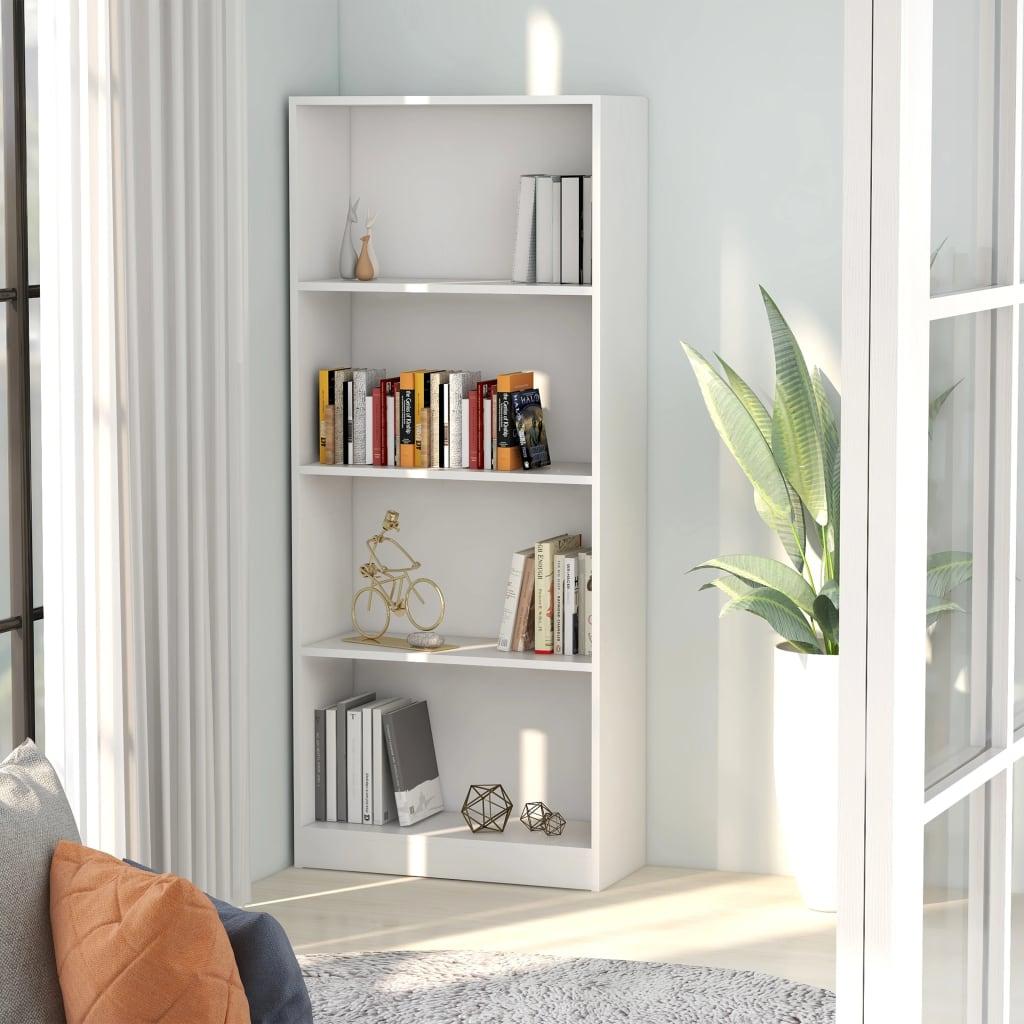 vidaXL Bibliotecă cu 4 rafturi, alb, 60 x 24 x 142 cm, PAL imagine vidaxl.ro