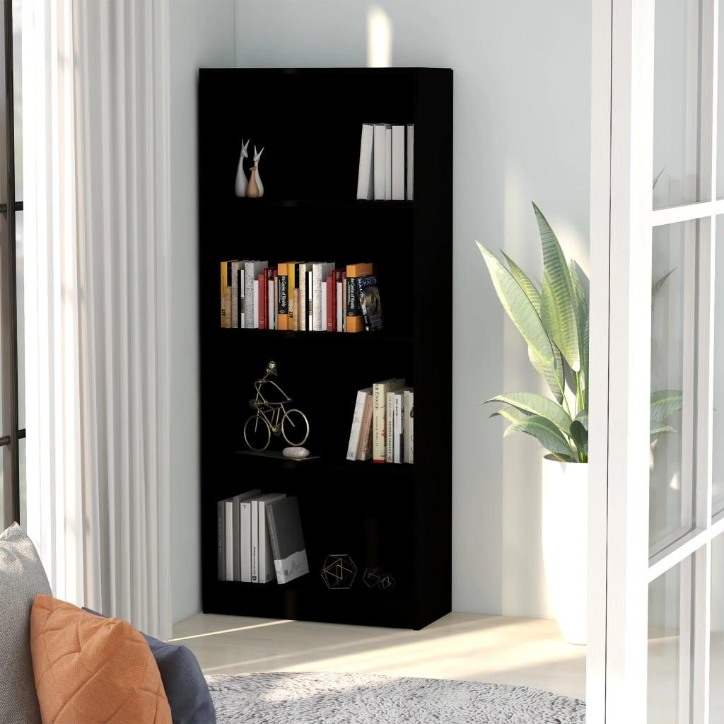4-korruseline raamaturiiul must 60x24x142 cm puit..