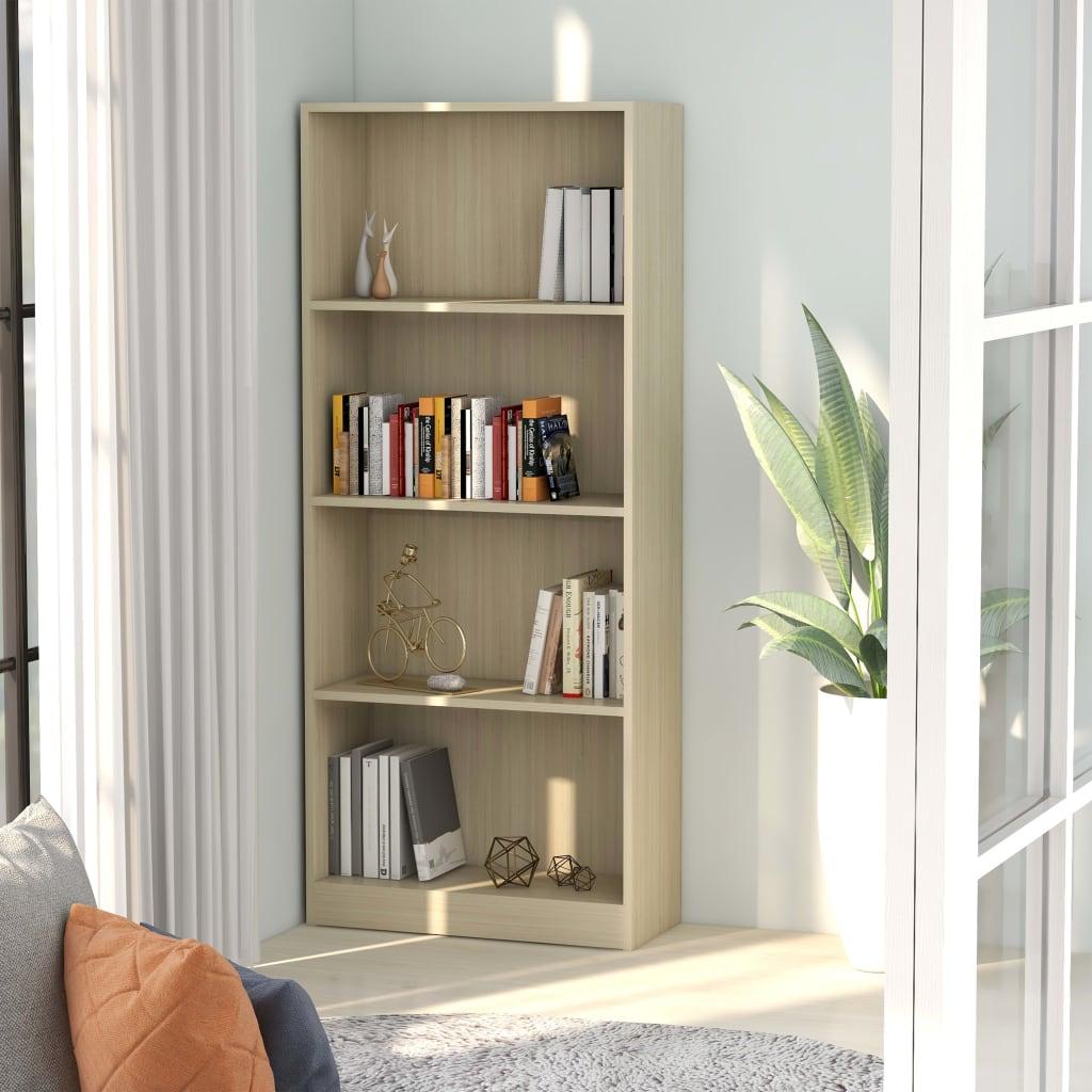 vidaXL Bibliotecă cu 4 rafturi, stejar Sonoma, 60 x 24 x 142 cm, PAL vidaxl.ro