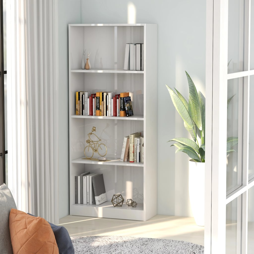 vidaXL Bibliotecă cu 4 rafturi, alb extralucios, 60 x 24 x 142 cm, PAL poza vidaxl.ro