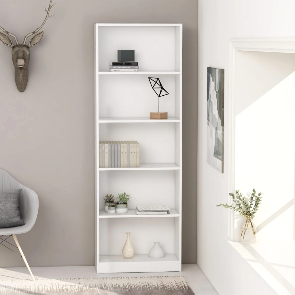 5-korruseline raamaturiiul valge 60x24x175 cm, pu..